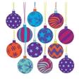christmas tree ball icons vector image