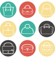 Set of colorful female handbags icons vector image