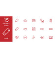 15 usb icons vector image vector image