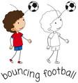 a doodle boy bouncing football vector image