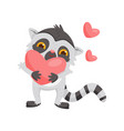 adorable enamored lemur holding big pink heart in vector image vector image