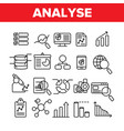 analysing data thin line icons set vector image vector image