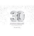 anniversary 30 silver 3d numbers vector image vector image