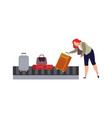 baggage carousel in airport woman picks up vector image vector image