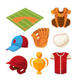 baseball cartoon icons set isolate on white vector image vector image