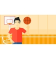 Basketball player spinning ball vector image vector image
