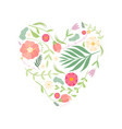 beautiful heart with floral seamless pattern vector image vector image
