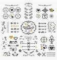 black and golden hand drawn cute design elements vector image vector image