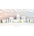 boise idaho usa city skyline in paper cut style vector image vector image