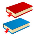 book with bookmark red and blue vector image vector image