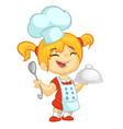 cartoon girl cooks vector image vector image