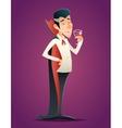 Cartoon Halloween Vampire Gentleman Savor Drink vector image