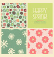 cheerful coordinating seamless spring designs vector image vector image