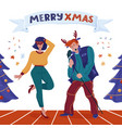 christmas card with man signing woman dancing vector image vector image