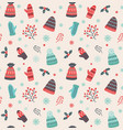 christmas pattern with hats and mittens vector image vector image