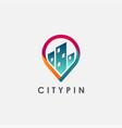 city building map pin logo icon template vector image