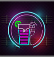 cocktail glass neon sign circle frame background v vector image vector image