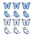 collection blue butterflies vector image vector image