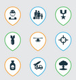 combat icons set collection of danger chopper vector image vector image