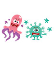 couple of ugly virus germ bacteria characters vector image vector image