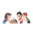 cute children playing chess game together kids vector image vector image