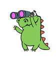 cute dinosaur looking through binoculars vector image