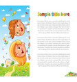 design with children and summer background vector image