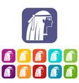 egyptian girl icons set flat vector image vector image