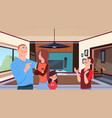 family at home young parents with two kids little vector image vector image