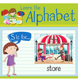 Flashcard alphabet S is for store vector image vector image