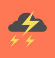 flat icon on stylish background lightning cloud vector image vector image