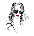 graphic image of girl in sunglasses and long hair vector image