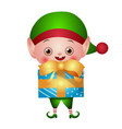 green christmas elf with gift box vector image vector image