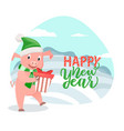 greeting card with pig wishing happy new year vector image vector image