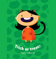 halloween poster trick or treat with cat girl on vector image vector image