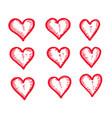 hand draw hearts icon design vector image vector image