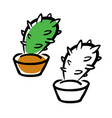 hand drawing cartoon cactus vector image vector image