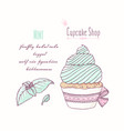 hand drawn cupcake mint flavor vector image vector image