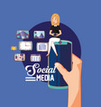 hand holding phone with woman in social media vector image
