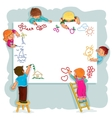 Happy children together draw on a large sheet of vector image vector image