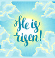 he is risen happy easter concept or vector image vector image