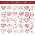 Hearts hand drawing doodle setRed decoration vector image vector image
