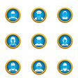 important profession icons set flat style vector image vector image