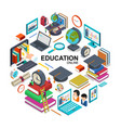 isometric online education round concept vector image vector image