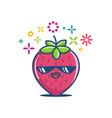 kawaii smiling sunglasses strawberry emoticon vector image vector image