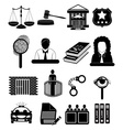 Law court icons set vector image vector image