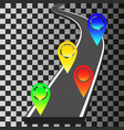 navigation template with colored pin pointers vector image