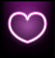 neon heart on dark pink background vector image vector image