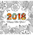 new year card with numbers 2018 on floral vector image vector image