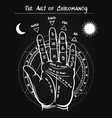palmistry hand black poster vector image vector image